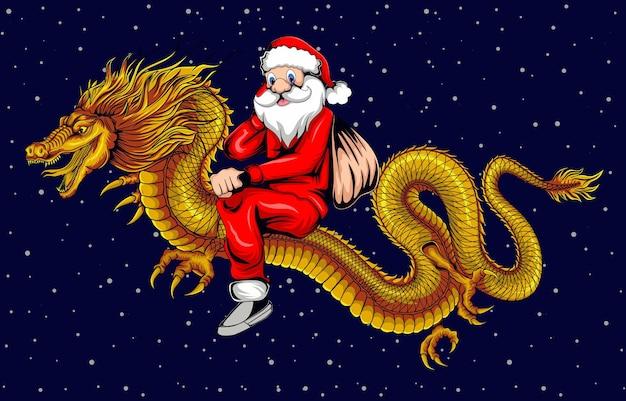 Illustration du père noël chevauchant un dragon d'or