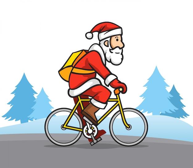 Illustration du père noël à vélo de route