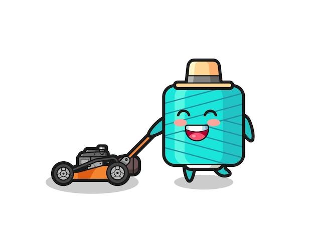 Illustration du personnage de la bobine de fil à l'aide d'une tondeuse à gazon, design de style mignon pour t-shirt, autocollant, élément de logo