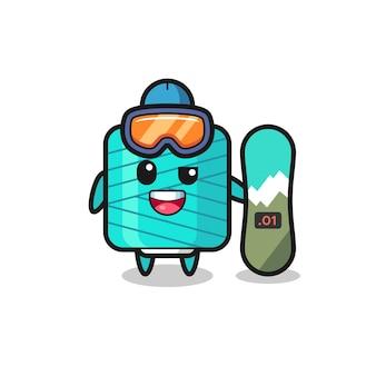 Illustration du personnage de la bobine de fil avec style snowboard, design de style mignon pour t-shirt, autocollant, élément de logo