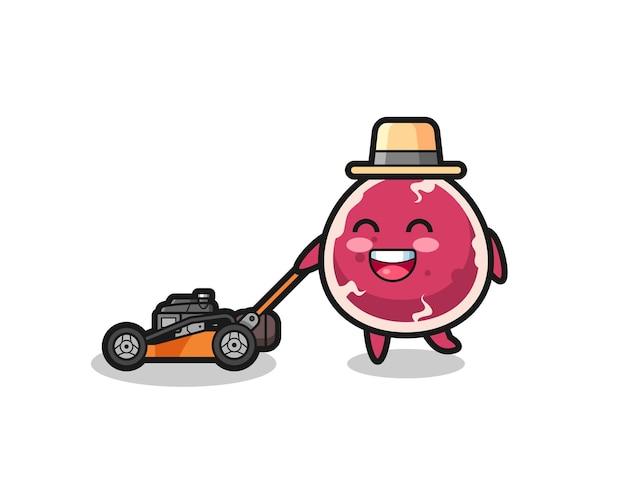 Illustration du personnage de boeuf à l'aide d'une tondeuse à gazon, design de style mignon pour t-shirt, autocollant, élément de logo