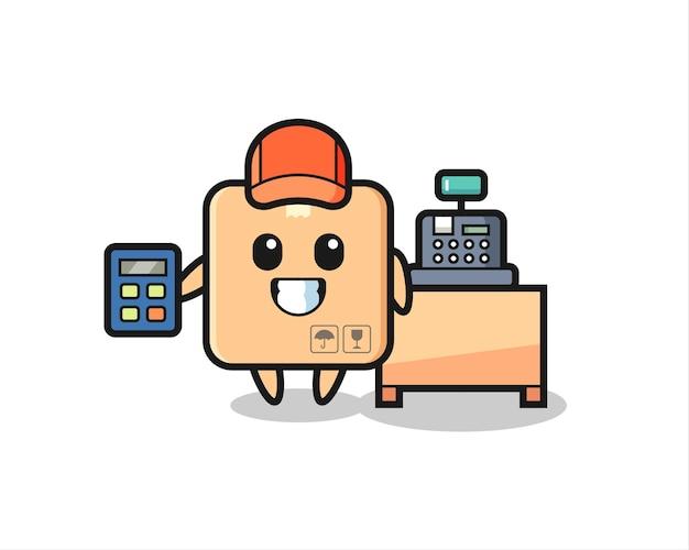 Illustration du personnage de la boîte en carton en tant que caissier, design de style mignon pour t-shirt, autocollant, élément de logo