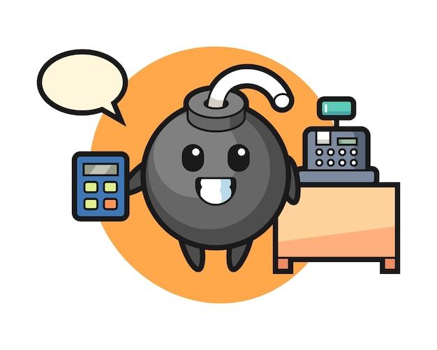 Illustration du personnage de bombe en tant que caissier