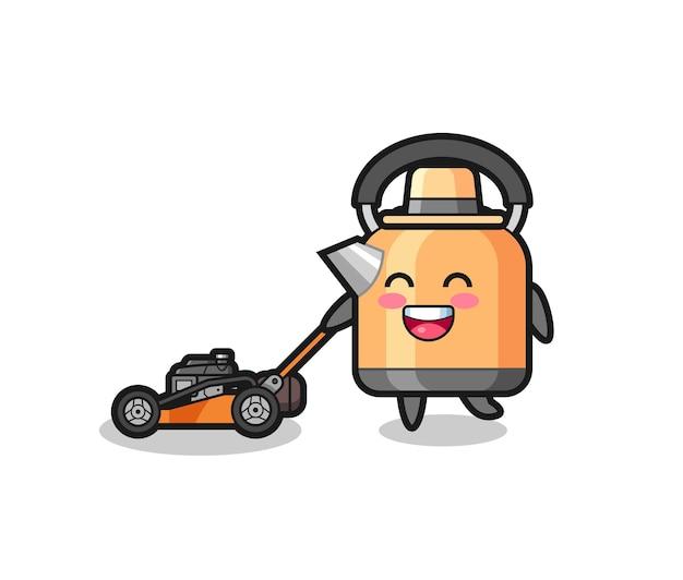 Illustration du personnage de la bouilloire à l'aide d'une tondeuse à gazon, design de style mignon pour t-shirt, autocollant, élément de logo
