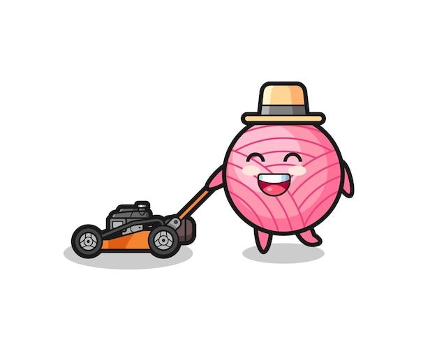 Illustration du personnage de la boule de fil à l'aide d'une tondeuse à gazon, design de style mignon pour t-shirt, autocollant, élément de logo