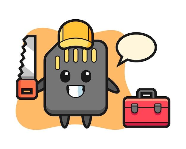 Illustration du personnage de la carte sd en tant que menuisier, conception de style mignon pour t-shirt