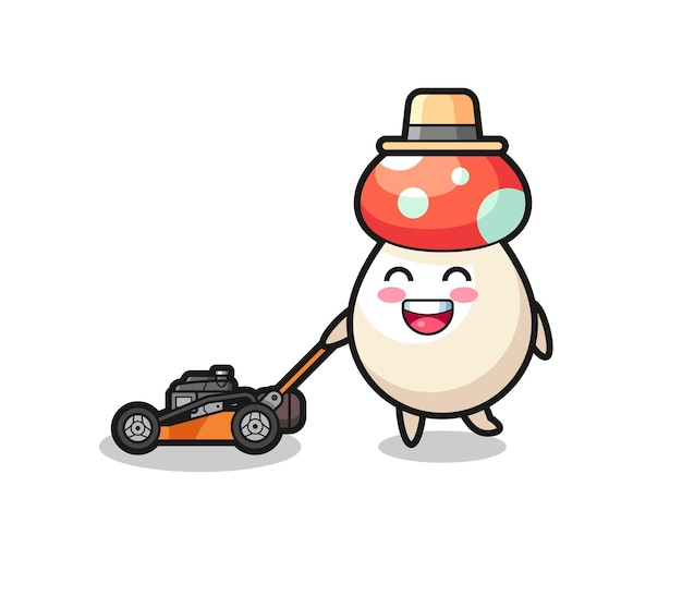 Illustration du personnage de champignon à l'aide d'une tondeuse à gazon, design de style mignon pour t-shirt, autocollant, élément de logo