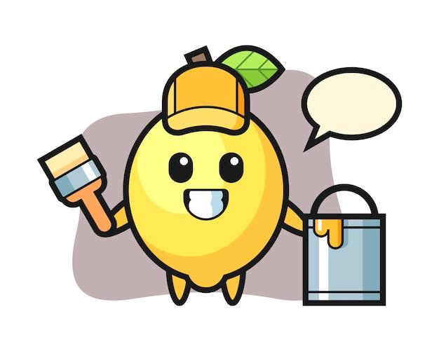 Illustration du personnage de citron en tant que peintre