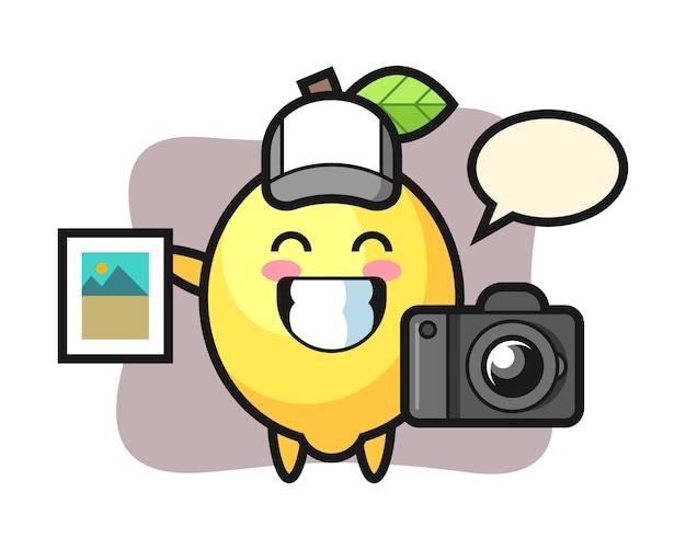 Illustration du personnage de citron en tant que photographe