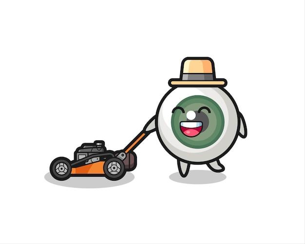 Illustration du personnage du globe oculaire à l'aide d'une tondeuse à gazon, design de style mignon pour t-shirt, autocollant, élément de logo
