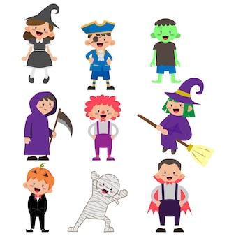 Illustration du personnage d'enfants portant le costume d'halloween