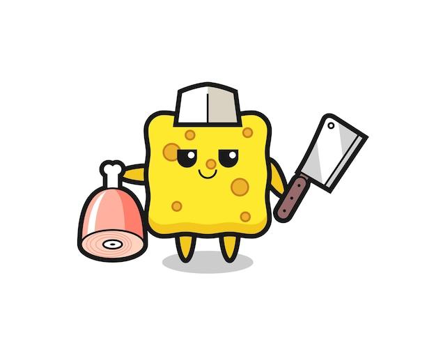 Illustration du personnage d'éponge en tant que boucher, design de style mignon pour t-shirt, autocollant, élément de logo