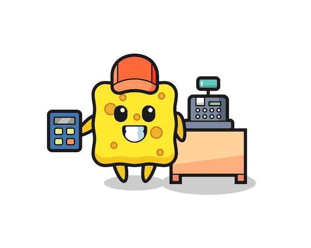 Illustration du personnage en éponge en tant que caissier, design de style mignon pour t-shirt, autocollant, élément de logo
