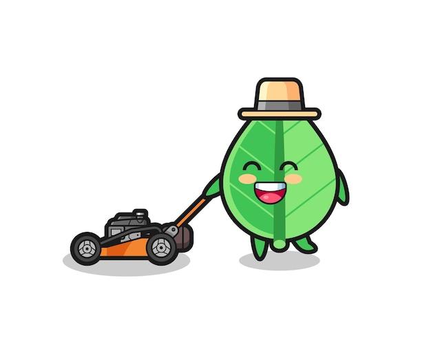 Illustration du personnage de la feuille à l'aide d'une tondeuse à gazon, design de style mignon pour t-shirt, autocollant, élément de logo