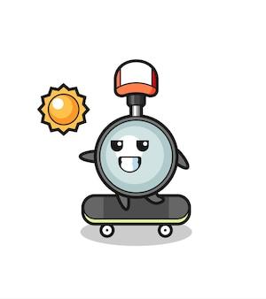 L'illustration du personnage en forme de loupe monte sur une planche à roulettes, un design de style mignon pour un t-shirt, un autocollant, un élément de logo