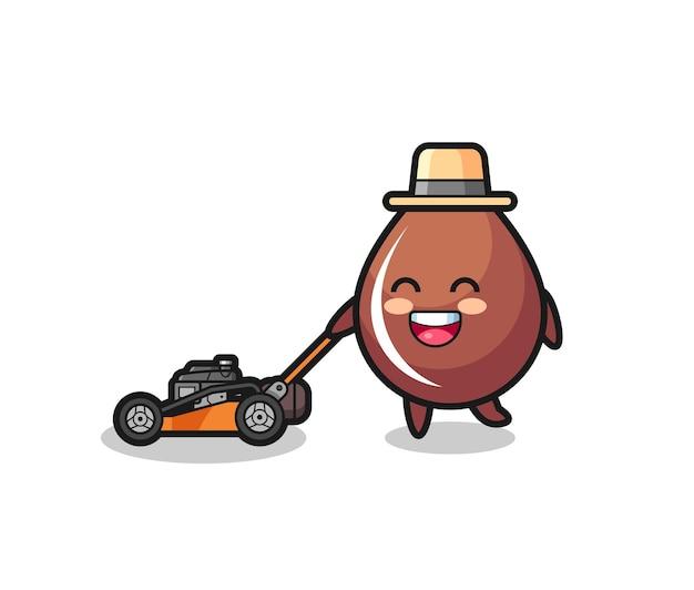 Illustration du personnage de goutte de chocolat à l'aide d'une tondeuse à gazon, design de style mignon pour t-shirt, autocollant, élément de logo