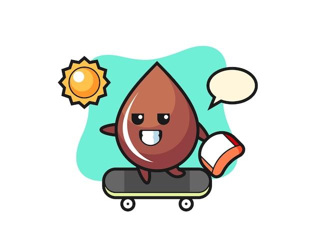 L'illustration du personnage de goutte de chocolat monte une planche à roulettes, un design de style mignon pour un t-shirt, un autocollant, un élément de logo