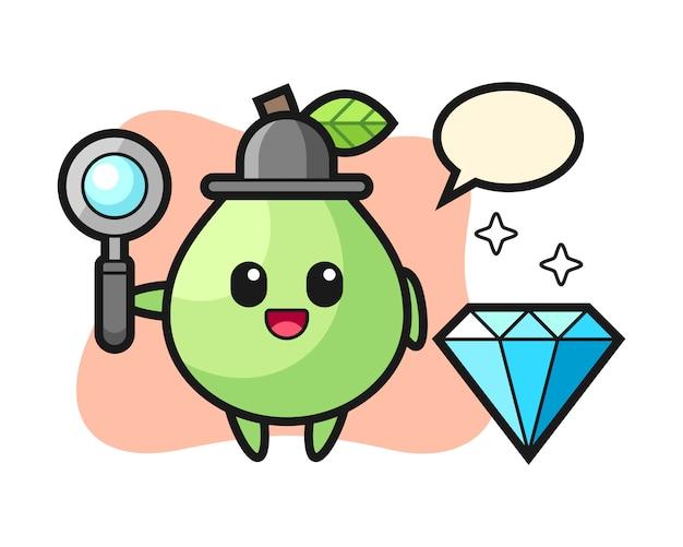 Illustration du personnage de goyave avec un diamant, conception de style mignon pour t-shirt, autocollant, élément de logo