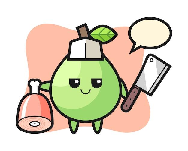 Illustration du personnage de goyave en tant que boucher, conception de style mignon pour t-shirt, autocollant, élément de logo