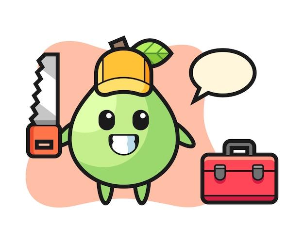 Illustration du personnage de goyave en tant que menuisier, conception de style mignon pour t-shirt, autocollant, élément de logo