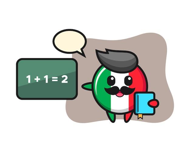Illustration du personnage d'insigne de drapeau italien en tant qu'enseignant, style mignon, autocollant, élément de logo