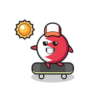 L'illustration du personnage de l'insigne du drapeau du bahreïn monte une planche à roulettes, un design de style mignon pour un t-shirt, un autocollant, un élément de logo