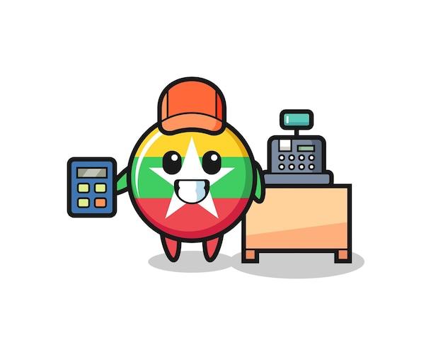 Illustration du personnage d'insigne du drapeau du myanmar en tant que caissier, design mignon