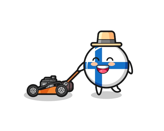 Illustration du personnage d'insigne du drapeau finlandais à l'aide d'une tondeuse à gazon, design de style mignon pour t-shirt, autocollant, élément de logo