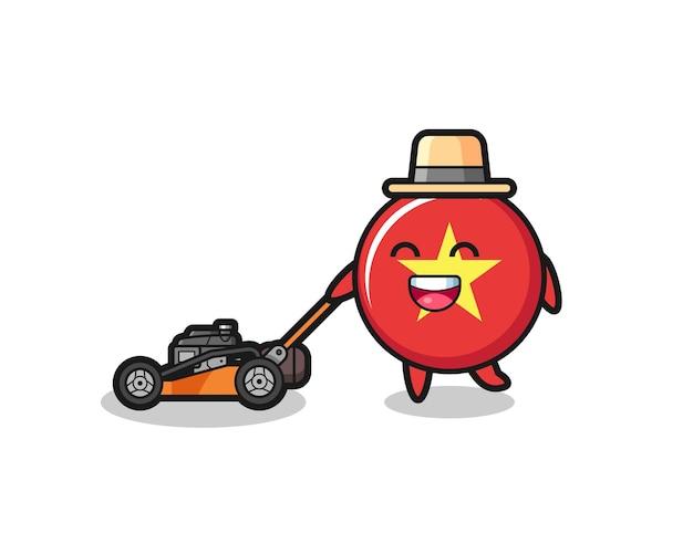 Illustration du personnage de l'insigne du drapeau vietnamien à l'aide d'une tondeuse à gazon, design de style mignon pour t-shirt, autocollant, élément de logo