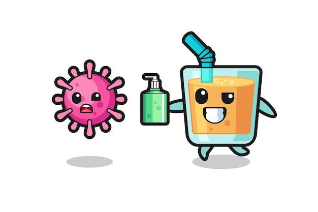 Illustration du personnage de jus d'orange chassant le virus du mal avec un désinfectant pour les mains, design de style mignon pour t-shirt, autocollant, élément de logo