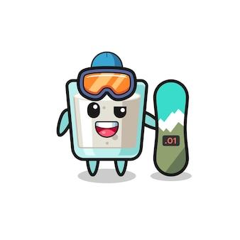 Illustration du personnage de lait avec style snowboard, design de style mignon pour t-shirt, autocollant, élément de logo