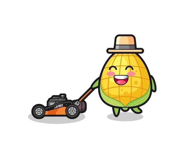 Illustration du personnage de maïs à l'aide d'une tondeuse à gazon, design de style mignon pour t-shirt, autocollant, élément de logo