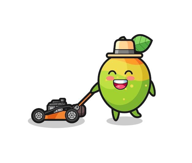 Illustration du personnage de mangue à l'aide d'une tondeuse à gazon, design de style mignon pour t-shirt, autocollant, élément de logo