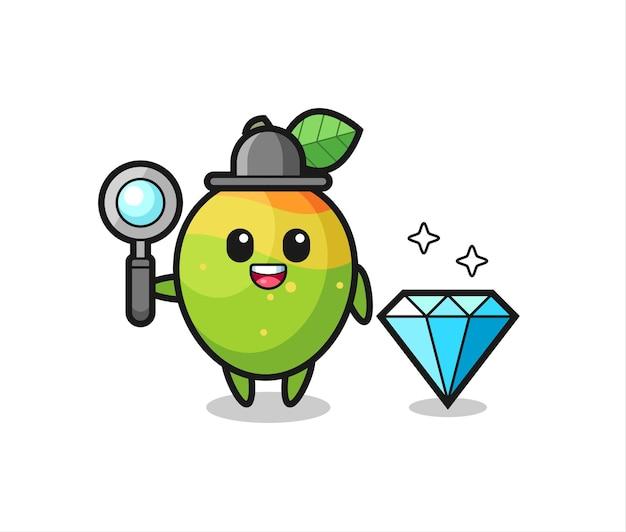 Illustration du personnage de mangue avec un diamant, design de style mignon pour t-shirt, autocollant, élément de logo