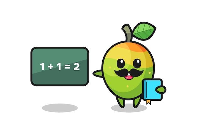 Illustration du personnage de mangue en tant qu'enseignant, design de style mignon pour t-shirt, autocollant, élément de logo