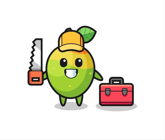 Illustration du personnage de mangue en tant que menuisier, design de style mignon pour t-shirt, autocollant, élément de logo