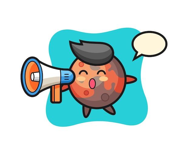 Illustration du personnage de mars tenant un mégaphone, design de style mignon pour t-shirt, autocollant, élément de logo