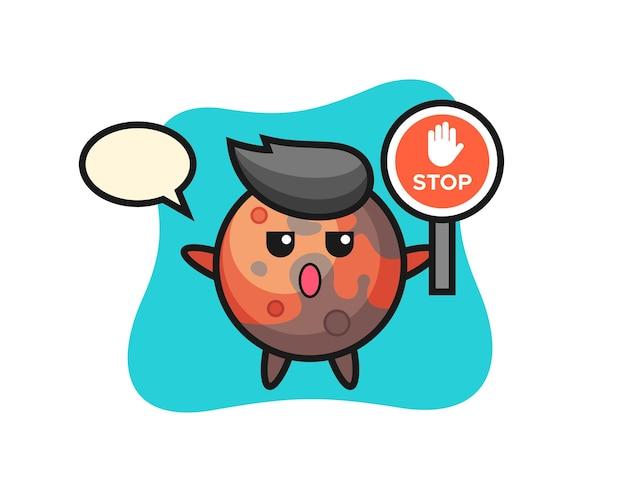 Illustration du personnage de mars tenant un panneau d'arrêt, design de style mignon pour t-shirt, autocollant, élément de logo
