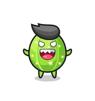 Illustration du personnage de mascotte de cactus maléfique, design de style mignon pour t-shirt, autocollant, élément de logo