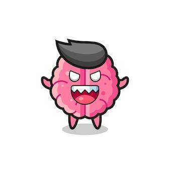 Illustration du personnage de mascotte du cerveau maléfique, design de style mignon pour t-shirt, autocollant, élément de logo