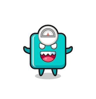 Illustration du personnage de mascotte d'échelle de poids maléfique, design de style mignon pour t-shirt, autocollant, élément de logo