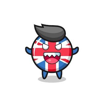 Illustration du personnage de mascotte d'insigne de drapeau du royaume-uni maléfique, design de style mignon pour t-shirt, autocollant, élément de logo