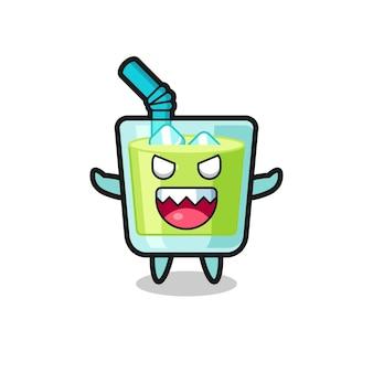 Illustration du personnage de mascotte de jus de melon maléfique, design de style mignon pour t-shirt, autocollant, élément de logo
