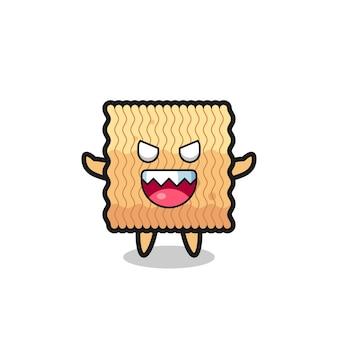 Illustration du personnage de mascotte de nouilles instantanées crues maléfiques, design de style mignon pour t-shirt, autocollant, élément de logo