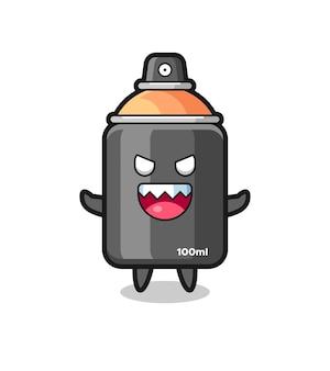 Illustration du personnage de mascotte de peinture en aérosol maléfique, design de style mignon pour t-shirt, autocollant, élément de logo