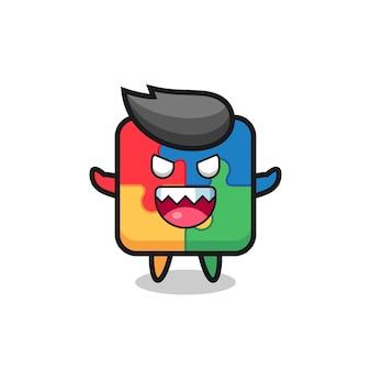 Illustration du personnage de mascotte de puzzle maléfique, design de style mignon pour t-shirt, autocollant, élément de logo
