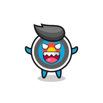 Illustration du personnage de mascotte de tir à l'arc cible maléfique, design de style mignon pour t-shirt, autocollant, élément de logo