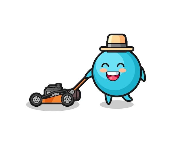 Illustration du personnage de myrtille à l'aide d'une tondeuse à gazon, design de style mignon pour t-shirt, autocollant, élément de logo