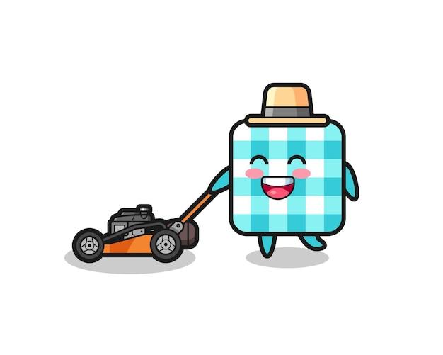 Illustration du personnage de la nappe à carreaux à l'aide d'une tondeuse à gazon, design de style mignon pour t-shirt, autocollant, élément de logo