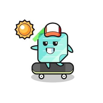 L'illustration du personnage de notes collantes monte une planche à roulettes, un design de style mignon pour un t-shirt, un autocollant, un élément de logo